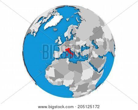 Italy On Globe Isolated