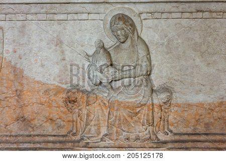 VERONA ITALY - MAY 1 2016: Bas-relief in Castelvecchio Museum. Verona Italy
