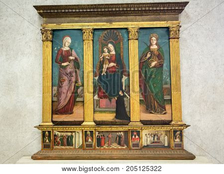 VERONA ITALY - MAY 1 2016: Madonna with Child and Saints Mary the Consoler and Catherine in Castelvecchio Museum. Verona Italy