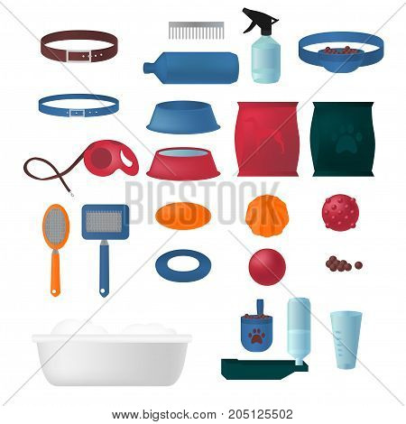 Flat isolated set of dog items elements. Pet icons walking, feeding, grooming salon equipment. Doggy tools groomer collection, healthy nutrition