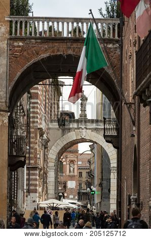 VERONA ITALY - MAY 1 2016: Verona - Piazza dei Signori is the civic and political heart of Verona Italy