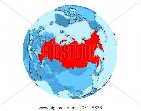 Russia On Blue Globe Isolated