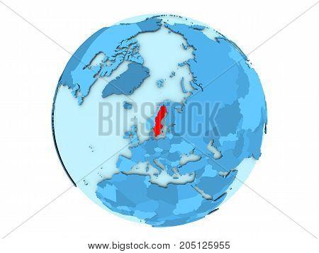 Sweden On Blue Globe Isolated