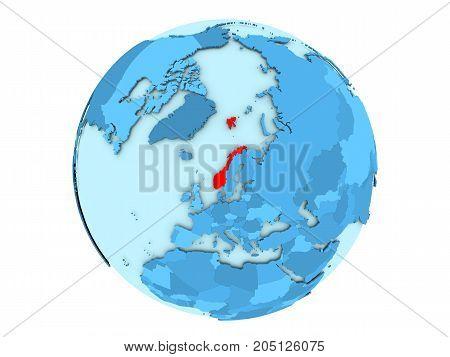 Norway On Blue Globe Isolated