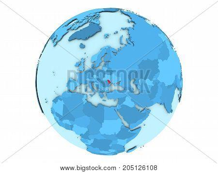 Moldova On Blue Globe Isolated