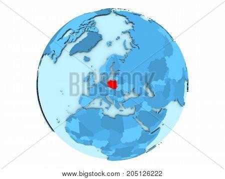 Poland On Blue Globe Isolated