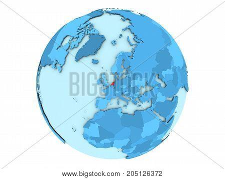 Netherlands On Blue Globe Isolated
