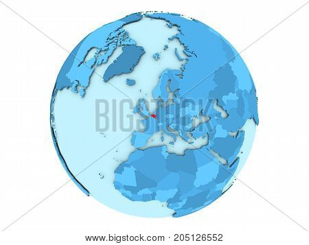 Belgium On Blue Globe Isolated