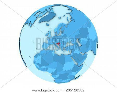 Croatia On Blue Globe Isolated