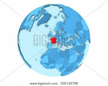 France On Blue Globe Isolated