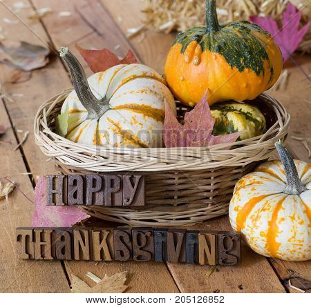 Autumn setting of colorful gourds with happy thanksgiving lettering