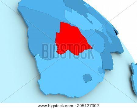 Botswana On Blue Globe