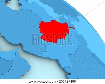 Afghanistan On Blue Globe