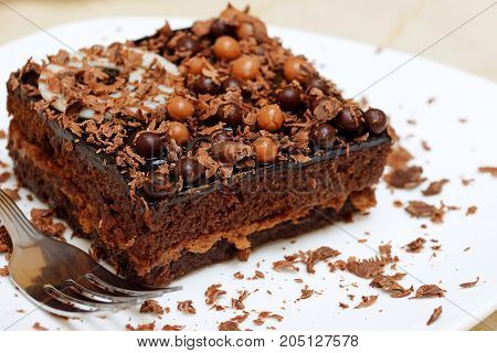 Chocolate cake on a white plate. Shallow depth of field.