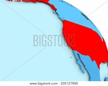 Usa On Blue Globe
