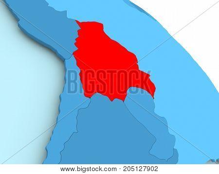 Bolivia On Blue Globe