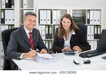 Portrait Of Smiling Accountant Calculating Taxes In Office