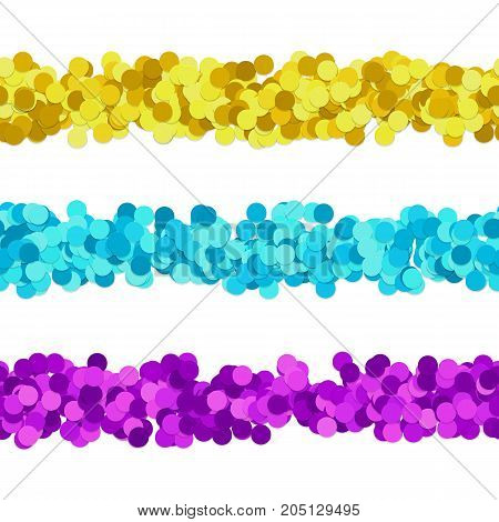 Repeatable abstract dot pattern page dividing line design set - vector graphic elements from colored circles