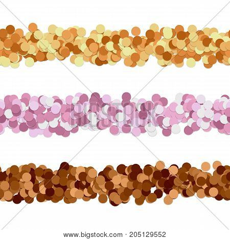 Repeatable abstract dot pattern page divider line design set - vector graphic design elements from colored circles with shadow effect