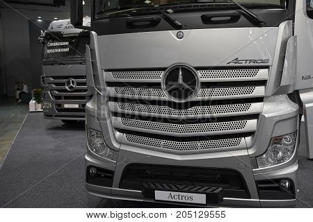MOSCOW, SEP, 5, 2017: View on silver trucks Mercedes-Benz Actros exhibits on Commercial Transport Exhibition ComTrans-2017. Commercial Mercedes trucks. Automobile industry last achivements