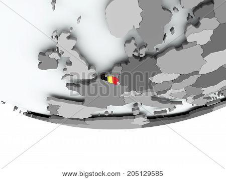 Belgium With Flag On Globe