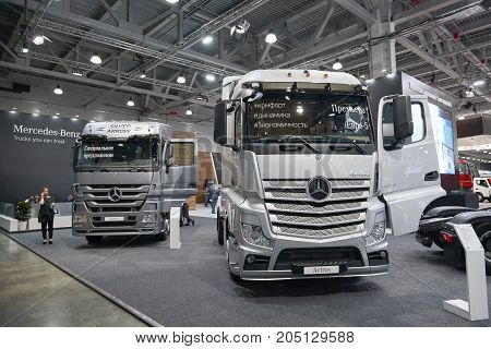 MOSCOW, SEP, 5, 2017: View on silver trucks Mercedes-Benz Actros exhibits on Commercial Transport Exhibition ComTrans-2017. Commercial Mercedes trucks Automobile industry technology. Commercial trucks