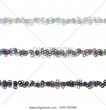 Random circle pattern page divider line design set from colored rings - repeatable vector graphic design elements