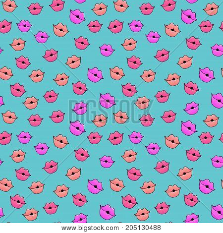 Female lips. Mouth with a kiss pomade lipstick. Vector comic seamless pattern in pop art retro style. Abstract seamless pattern for girls boys clothes. Childish print.