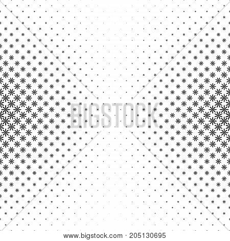 Monochrome geometric stylized flower pattern - abstract floral vector background illustration from curved shapes