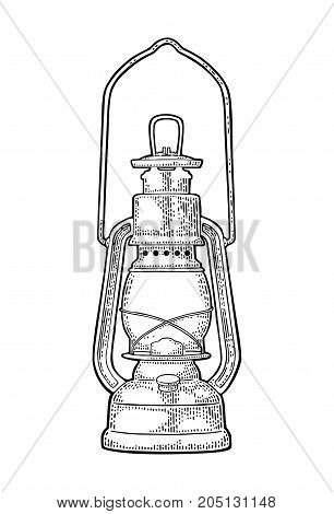Antique retro gas lamp. Vintage black engraving illustration for poster web. Isolated on white background.