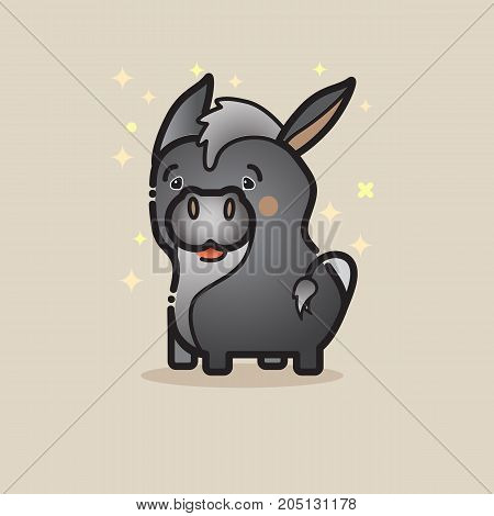 Cute donkey  isolated on gray background. Lovely amusing animal. Little gray donkey icon. Vector logo design template in cartoon style. Emblem, mascot, sticker or badge for packaging or kids store.