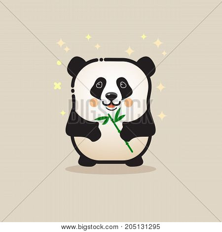 Cute Panda bear with bamboo isolated on gray background. Lovely amusing animal. Little smiling panda icon. Vector logo design template in cartoon style. Emblem, mascot, sticker or badge for packaging or asian food, kids store.