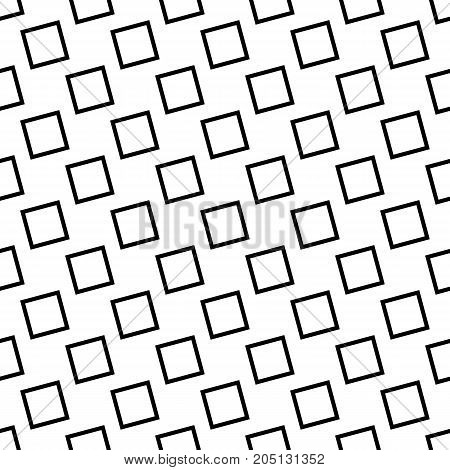 Monochrome seamless abstract geometrical square pattern - vector background design from angular squares