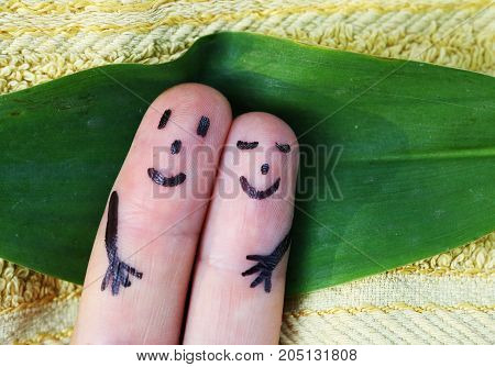 Fingers Couple Lay On The Beach Close Up Photo