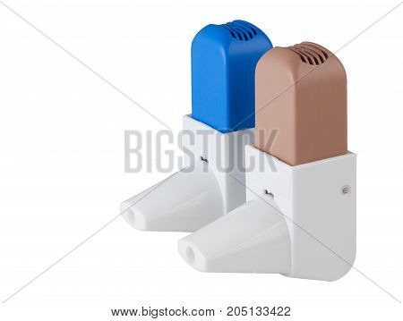 Blue and Brown Asthma Inhalers isolated on white with clipping path