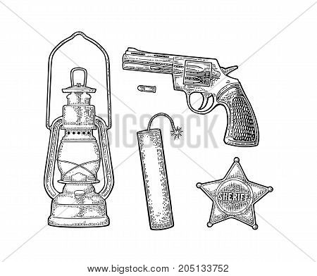 Set with Wild West. Sheriff star revolver bullet TNT dynamite bomb antique oil lamp . Vector vintage black engraving isolated on white background.