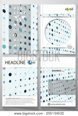 Business templates for brochure, flyer, booklet, report. Cover template, abstract layout in A4 size. Soft color dots with illusion of depth and perspective, dotted background. Elegant vector design
