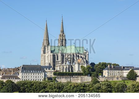 The south-eastern view of The Cathedral of Our Lady of Chartres France.