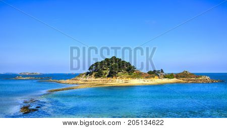 Beautiful view of the Sterec Island located in Morlaix Bay in FinistereBrittany in North of France.