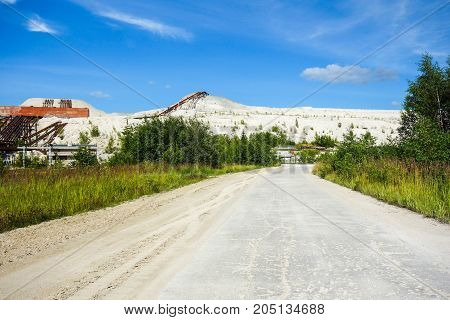 Industrial wasteland area during summer background view