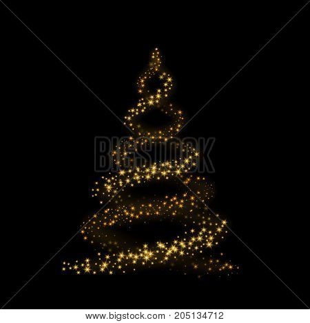 Gold Christmas Tree Vector Photo Free Trial Bigstock