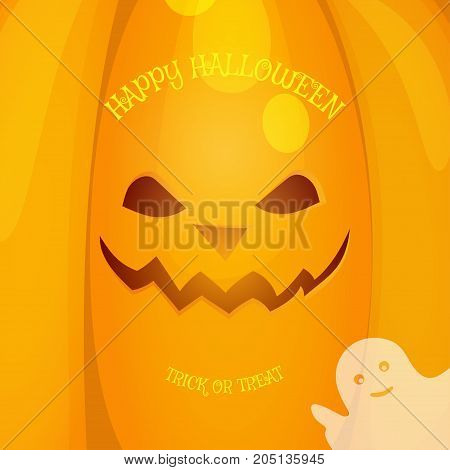 Halloween vector background with yellow pumpkin and ghost with text.