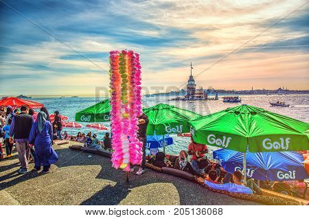 Istanbul Turkey - April 29 2017: People are spending leasure time and meeting sunset in Uskudar in Istanbul Turkey