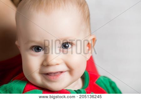Christmas Child With Happy Face.
