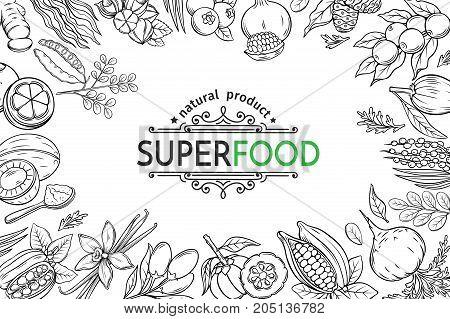 Vector illustration superfood berries and fruits poster template. Carob, ginger, moringa, lucuma, coji berries, mangosteen, acai, guarana and noni. Healthy detox natural product of camu camu, garcinia cambogia and maca.