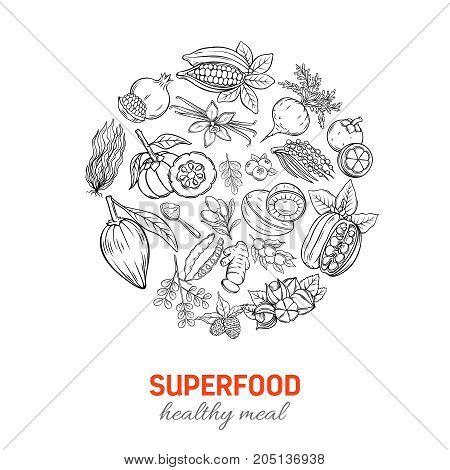 Vector hand drawnn superfood round poster. Healthy detox natural product of camu camu, garcinia cambogia and maca. Carob, ginger, moringa, lucuma, coji berries, mangosteen, acai, guarana and noni.