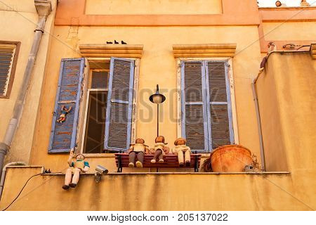 TEL AVIV, ISRAEL - APRIL 3, 2016: Beautiful house with funny figures Beit Tamar - building that stands at the intersection of streets Chelouche and Shabazi in Neve Tzedek area of Tel Aviv, Israel.