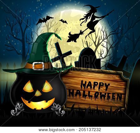 Halloween spooky background with moon wooden board and witch cauldron with face. Vector