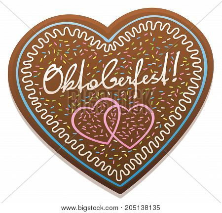 Oktoberfest gingerbread heart - typical sweet german souvenir from munich. Isolated vector illustration on white background.