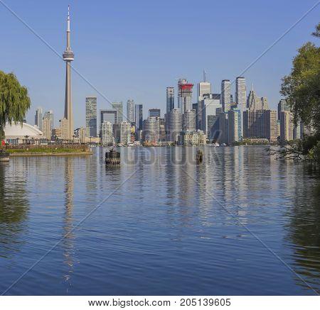 Toronto's skyline over Lake Ontario. Ontario, Canada
